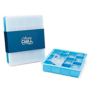Arctic Chill Silicone 1.5 Inch Ice Cube Trays w Lids, Old Fashioned Whiskey, Cocktail & Bourbon, Covered Ice Cubes Keeping Drinks Cold Longer, BPA Free, Dishwasher Safe, Set of Two Makes 40 Total