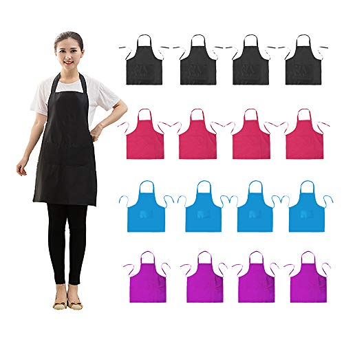 LOYHUANG Bib Apron Adult with 2 Pockets for Women Men Chef Cooking Baking Kitchen Grilling Painting Crafting Restaurant Waitress Waiter with 16 PCS Apron (16, Black Combination)