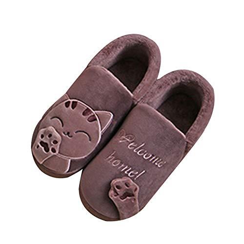 Slippers Souple Mignon Hommes Maison Chaussures Antidérapant Femmes Café2 Pantoufles Chat Chaussons GladiolusA Chaud PXBxzq