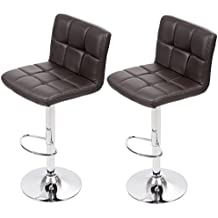 Bar Stool Adjustable Height Leather Bar Stools with Seat Back Pad,Set of 2