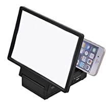 uxcell® Folding Portable Built-in Speaker Magnifier 3D Movie Screen HD Amplifier Black for Mobile Phone