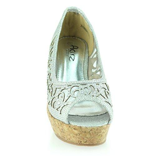 Mujer Señoras Noche Fiesta Peeptoe Diamante Tacón de Cuña Sandalias Zapatos Talla Plateado