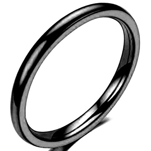 Jude Jewelers 1.5 MM Stainless Steel Stackable Ring Wedding Band (Black, 6.5)