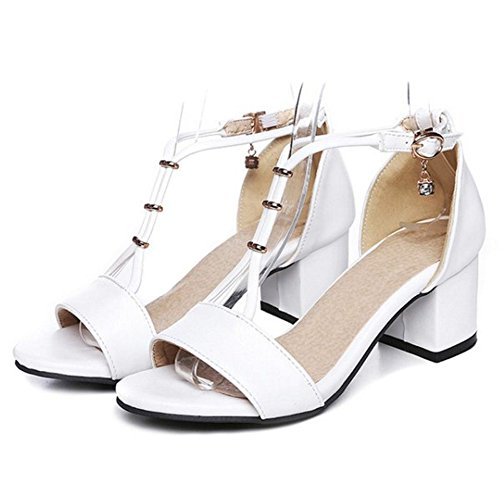 SJJH Women Sandals with Patent Leather and Peep Toe Low Heel Fashion Shoes with Large Size 10.5 UK White MEUNf