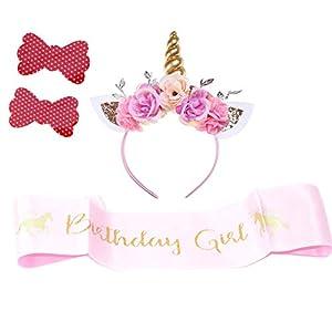Girls Gold Unicorn Headband,& Pink Silk Unicorn Birthday Sash,Unicorn Party Supplies for Kids Adults