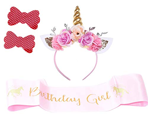 Girls Gold Unicorn Headband,& Pink Silk Unicorn Birthday Sash,Unicorn Party Supplies for Kids Adults ()