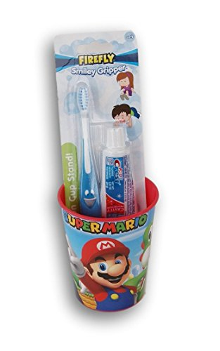 (Super Mario Tooth Brushing Kit - Toothbrush, Toothpaste, and Rinsing)