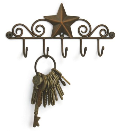 Star Key Rack Exclusive Key Holder Wall Organizer - Aged Copper Rustic Western American Decor by Colonial Tin Works
