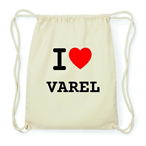 JOllify VAREL Hipster Turnbeutel Tasche Rucksack aus Baumwolle - Farbe: natur Design: I love- Ich liebe