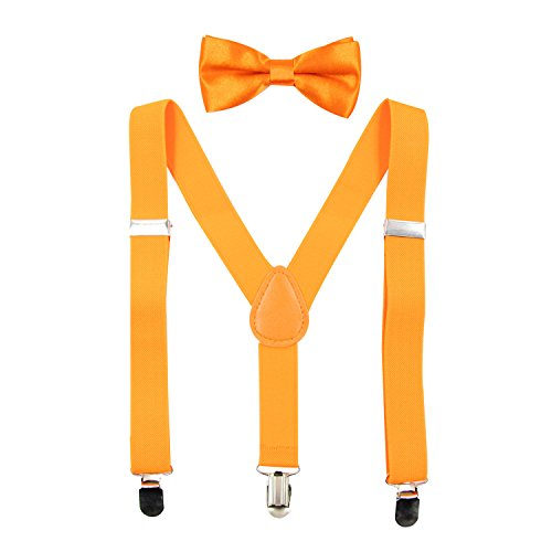 Halloween Costume Ideas For 1 Year Old (Hanerdun Kids Suspender Bowtie Sets Adjustable Suspender With Bow Ties Gift Idea For Boys And Girls,Orange,One)