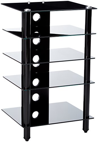 Tier One Designs Black Glass TV Stand/Audio Rack, 25