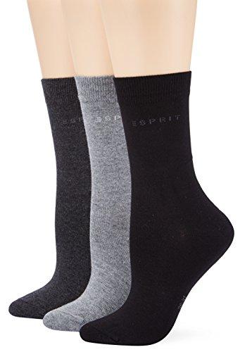 ESPRIT Damen Socken Uni-Mix, 3er Pack, Gr. 36/41, Mehrfarbig (sortiment 0030)
