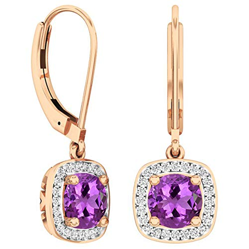 Dazzlingrock Collection 18K 6 MM Each Round Amethyst & White Diamond Ladies Halo Dangling Drop Earrings, Rose Gold