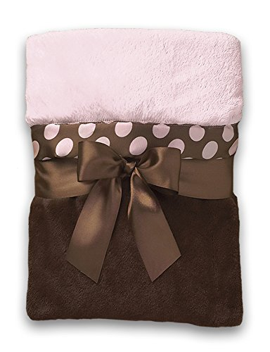 Bearington Baby Posh Dots, Crib Blanket (Pink and Brown) 29