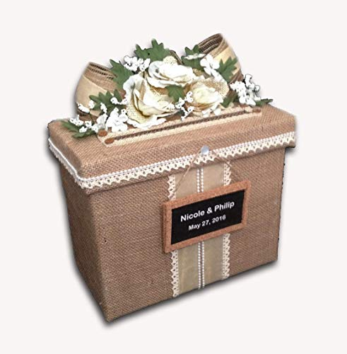 Rustic Wedding Card Box, Card Holder for Weddings, Ivory Silk/Burlap Flowers, Handmade, Personalized, Holds 70 cards, Beige, All The Best Card Boxes