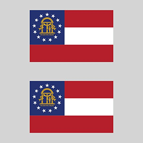 Georgia Stickers Flag (Two Pack Georgia Flag Sticker FA Graphix Decal Self Adhesive Vinyl state peach empire of south)