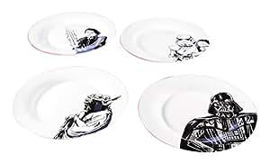 Zak Designs Star Wars Ceramic Dinner Plate Set, Yoda, Stormtrooper, Luke Skywalker & Darth Vader