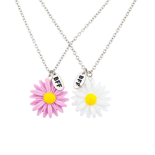 [Lux Accessories Best Friends BFF Daisies Necklace Set ( 2 Pc )] (Flower Child Costumes Ideas)