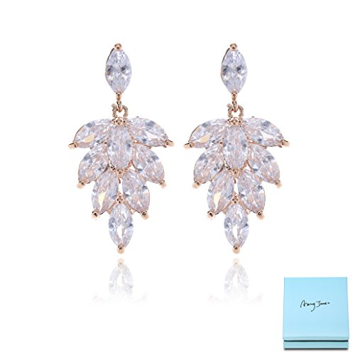 Marquise Leaf - Crystal Cluster Earrings for Wedding - Rose Gold Plated Marquise CZ Crystal Rhinestone Leaf Floral Bridal Earrings for Bride Bridesmaids Mother of Bride Party Prom Pageant
