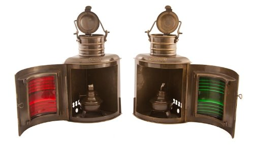 Vermont Lanterns Brass Port & Starboard Lamps - Nautical Decor (9'', Antique Brass)