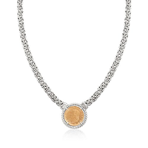 Ross-Simons Italian Two-Tone Sterling Silver Replica Lira Coin Byzantine Necklace