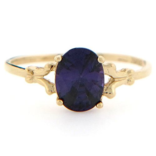 10k Gold Synthetic Amethyst February Birthstone Ring