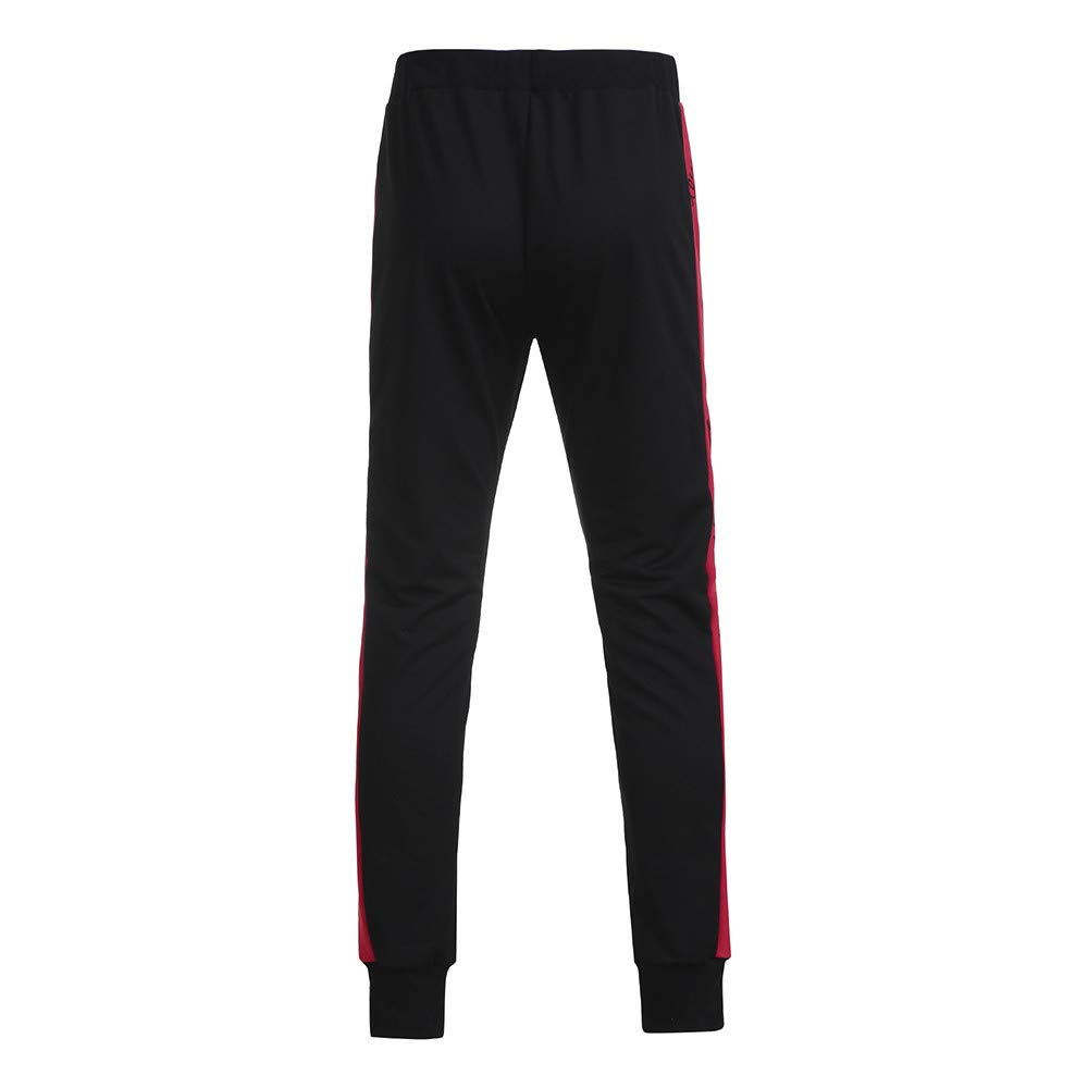 ALOVEMO Mens Sweatpants Plaid Patchwork Sports Pants Casual Elastic Trousers