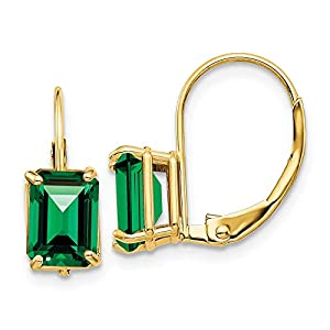14K Yellow Gold 7X5mm Emerald Cut Mount St. Helens Leverback Earrings