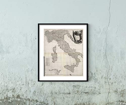 1784 World Atlas Map|Atlas Universel dresse sur des Meillieures Cartes Modernes 1784. A Venise par P. Santini rue Ste. Justine, Chez M. Remondini. 2-Ie. L'Italie|Historic Antique Vintage Reprint|Size: