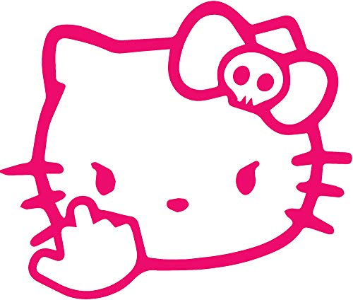 ANGDEST Hello Middle Finger Hello Kitty (Pink) (Set of 2) Premium Waterproof Vinyl Decal Stickers for Laptop Phone Accessory Helmet Car Window Bumper Mug Tuber Cup Door Wall Decoration