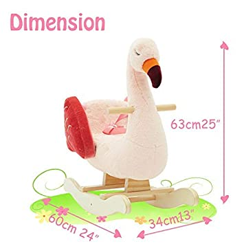 Stuffed Rocking Animal for Boy/&Girl Birthday Gift -【Flamingo】 Kid Ride On Toy for 1-3 Years Old Plush Rocking Horse Pink Infant Wooden Swan Rocker 【New】 labebe Toddler Riding Toy for Indoor