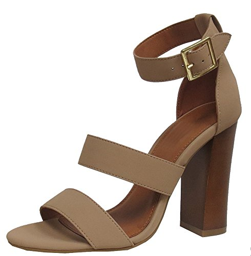 Cambridge Select Women's Open Toe Thick Triple Strappy Buckled Chunky Block High Heel Sandal (8 B(M) US, Natural) ()