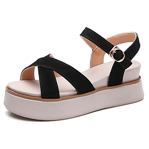Criss Cross Wedge Sandal - Women's Criss Cross Strap Wedges Sandals Slip On High Heeled Platform Casual Beach Shoes