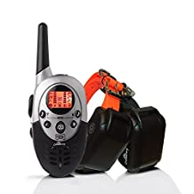 ObeDog 1100 Yards Ultra Dual Rechargeable & Full Waterproof Dog Training Collar with Amber LCD Remote - Vibration / Static Shock / Tone / Locate Training Stimulations for All Dogs