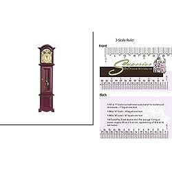 Dollhouse Miniature Grandfather Clock/mahogany