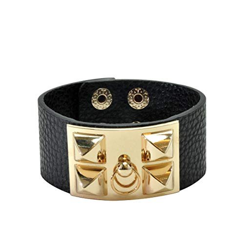 VANVENE Punk Leather Bracelet Cuff Adjustable Bangle Cool Wide Rock Wrap Wristband for Women Man Unisex Fashion Black