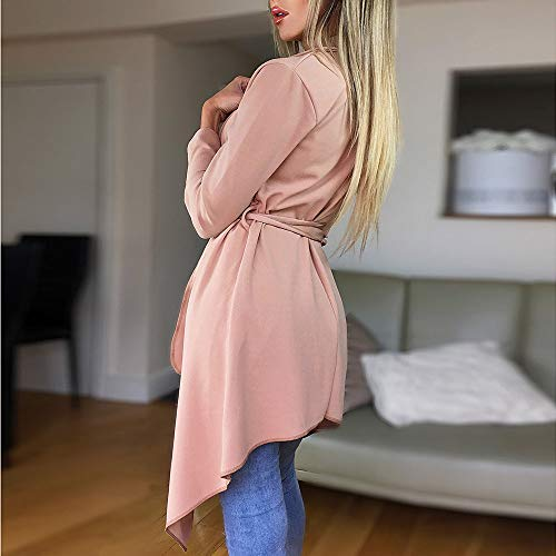 NUWFOR Women's Loose Solid Irregular Hem with Lapel Coat Trench Coat Cardigan Tops(Pink,S) by NUWFOR (Image #3)