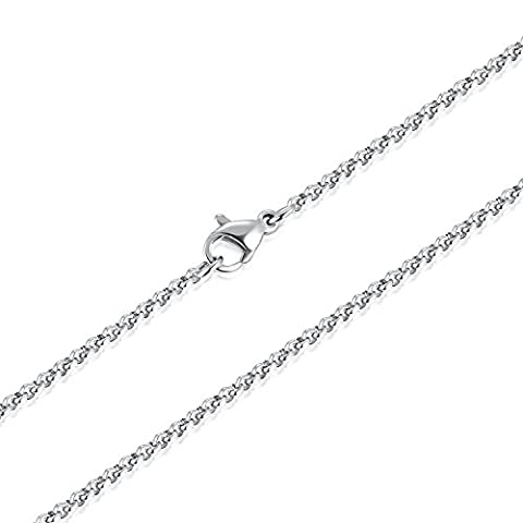 2.5MM Stainless Steel Rolo Cable Wheat Chain Women men Link Necklace 18-36 Inch Unisex (Gold Plate Chain Necklace)
