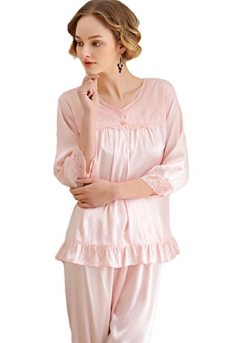 Awaye Pajamas Sets for Women Satin Pajama 3/4 Sleeve V Neck Lace Trim Two Piece Sleepwear with Long (3 Piece Lace Trim)