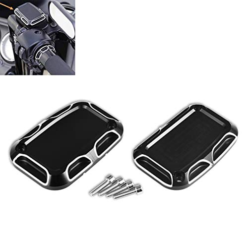 KaTur Motorcycle Brake Cylinder Cover Black Chrome Aluminium CNC Left & Right Front Brake Reservoir Cylinder Cover Fit for Harley FLH FLHX FLHX Road King 2008-2017 Electra Glide Street