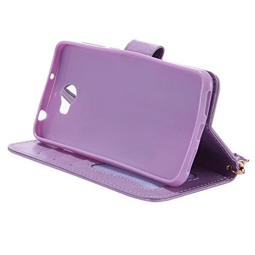 Huawei Y5 II Funda de Cuero Tipo de Cartera Efecto Luminoso KaseHom [Libre 2 en 1 Pluma Stylus Negro] Flores de Hada Chica Pájaros Mariposa de Gato Patrón en relieve Diseño Flip Magnético en [Slot de  Púrpura Clara