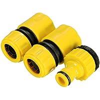 Tubo de manguera de jardín Accesorios de Set 3pcs/set amarillo rápido, adaptador de conector Jardín Césped Agua llave para 3/10,2cm y 1/5,1cm grifos–Pier 27