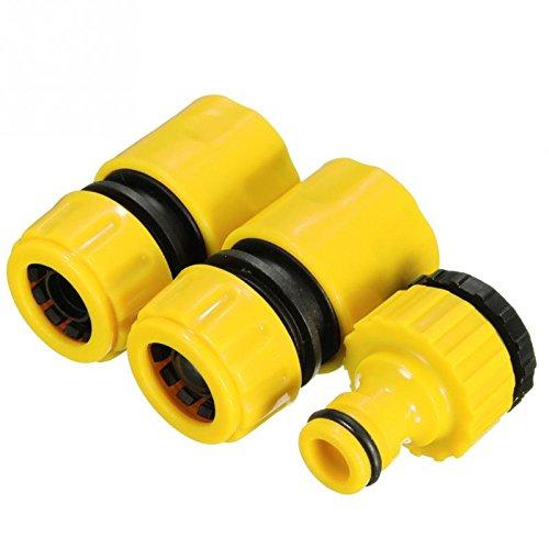Tubo de manguera de jardín Accesorios de Set 3pcs/set amarillo rápido, adaptador de conector Jardín Césped Agua llave...