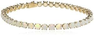 "14k Yellow Gold Round Created Opal Tennis Bracelet, 7"""