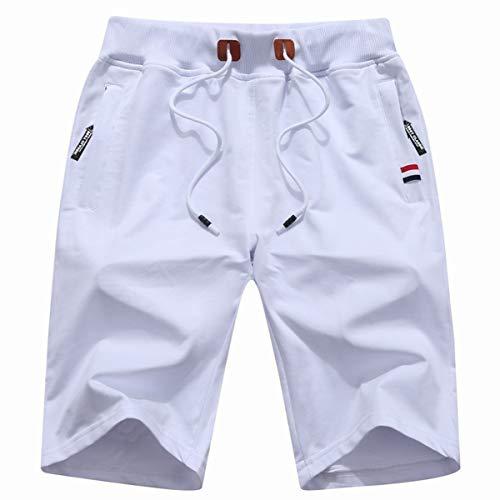 (GUNLIRE Big Boy's White Casual Shorts Summer Cotton Drawstring Elastic Waist Pockets Shorts 2019)