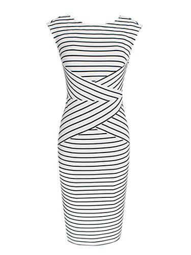 Choies Womens Stripe Sleeveless Bodycon
