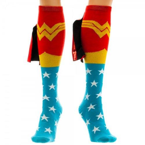 DC Comics Wonder Woman Knee High Shiny Caped Socks -