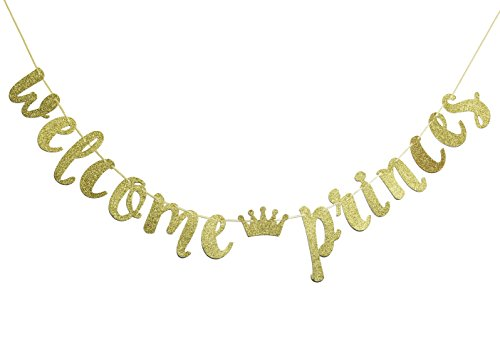 JustParty Welcome Princes Gold Glitter Banner Sign-Boy Twins Baby Shower , Pregnancy Reveal Banner by JustParty