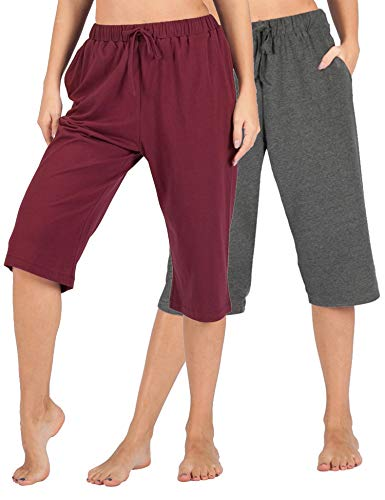 WEWINK CUKOO 100% Cotton Women Pajama Capri Pants Lounge Pants with Pockets Sleepwear (Granite Gray+ Wine Red, XL=US 16-18)