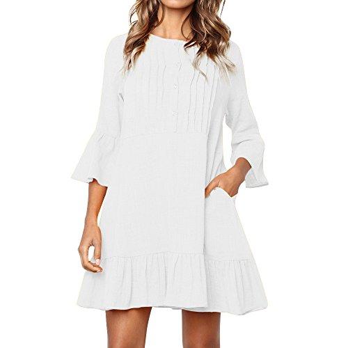 - HAALIFE◕‿Women's Summer Ruffle Dress Casual Short Mini Dresses White